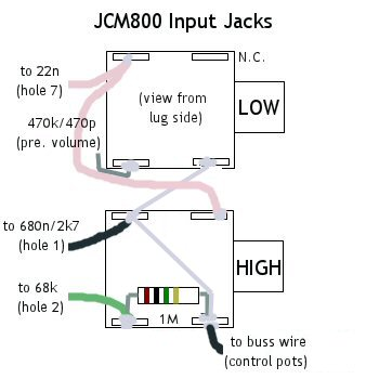 my 50 watt jcm800 model 2204 wiring diagram for the input jacks