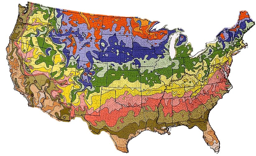 USDA Hardiness Zone Map Of US - Map of the us zones
